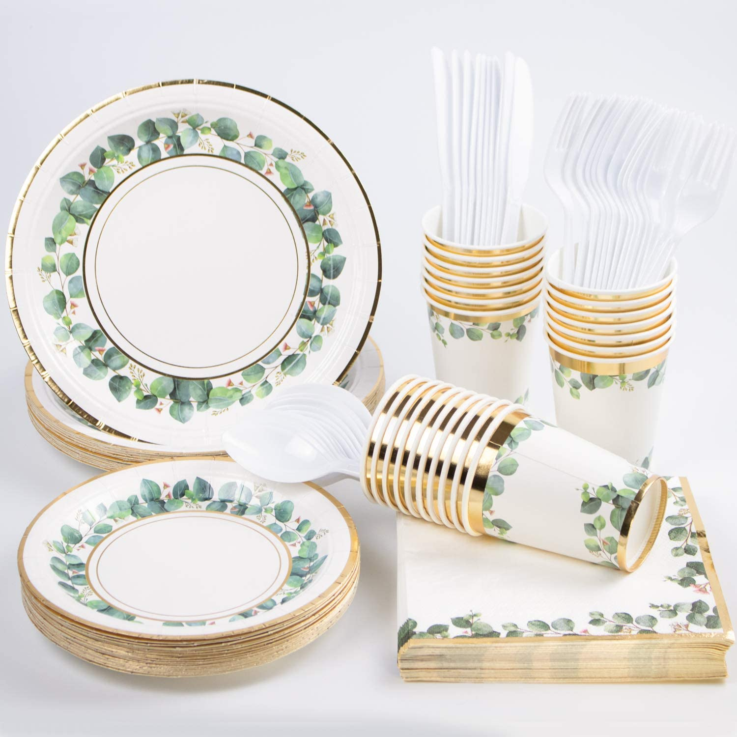 Greenery Jungle Party Supplies, (168PCS Serves 24) Gold Foil Disposable Paper Plates, Napkins, Cups, Knives, Spoons, Forks, Decorations for Wedding Baby Shower Birthday Bridal Shower