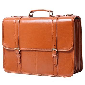 Leathario Herren Echtleder Aktentasche Arbeitstasche Businesstasche Laptoptasche Messenger Bag Bürotasche Umhängetasche Schultertasche Handtasche