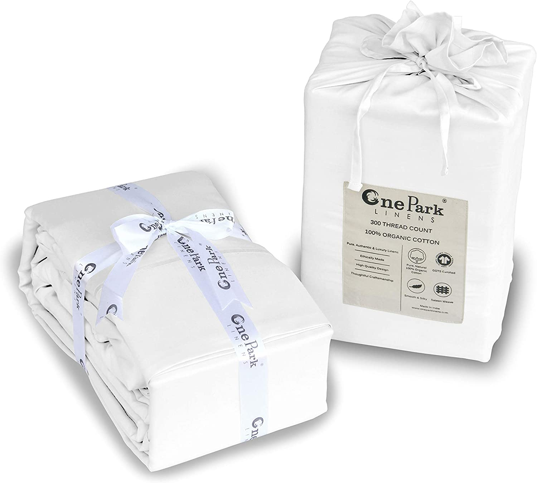 ONE PARK LINENS 100% Organic Cotton Sheet Set