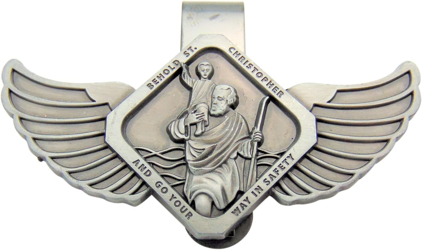 St Christopher Patron Saint of Travelers Auto Visor Clip with Angel Wings AT001