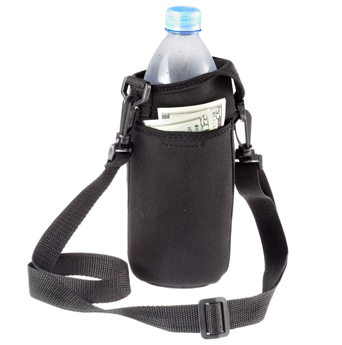Smooth Trip Neoprene Water Bottle Carrier Bag with Phone Case and Zip Pocket