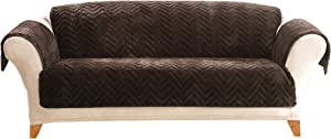 SureFit Quilted Faux Fur Chocolate Sofa Furniture Cover