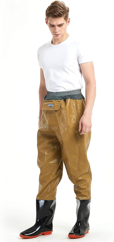 HaiXiang Unisex Fischer Fashion Anglerhose Wathose mit Waders und Gummistiefel Wattstiefel aus PVC