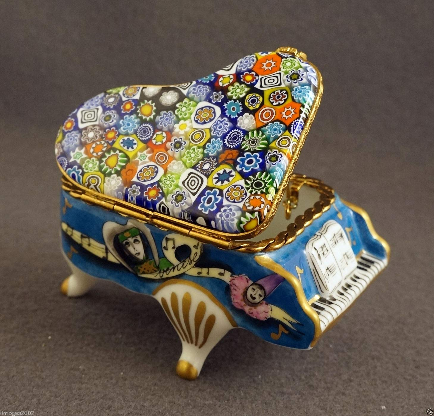 Authentic French Porcelain Hand Painted Limoges Box Blue Venetian Grand Piano with Murano Millefiori top