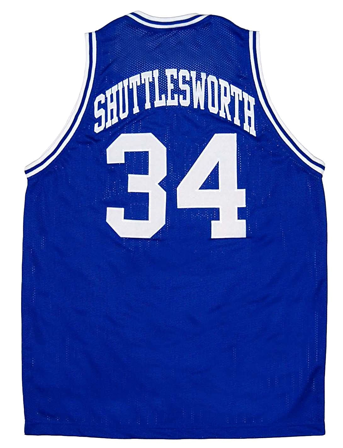 45d1f2fc4dbf Amazon.com  Jesus Shuttlesworth 34 Lincoln Blue Basketball Jersey Ray Allen  High School  Clothing