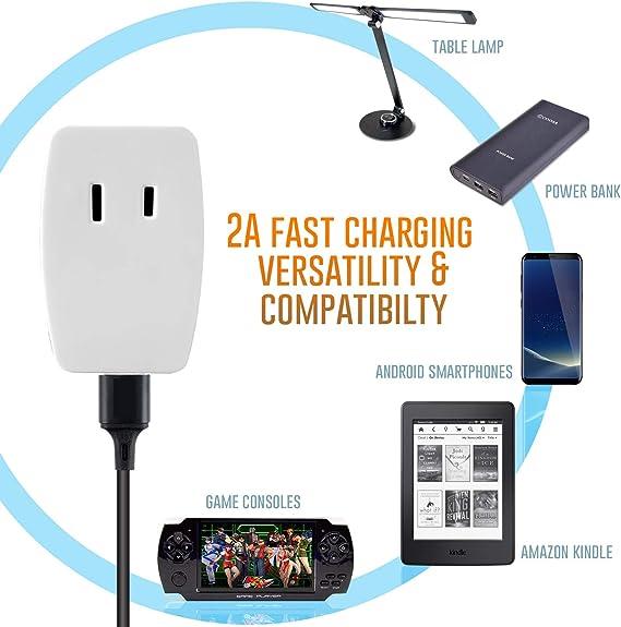 USB 5V//4.8 plat Fast Charge 2 G 13 A DP Noir Nickel Switched Socket