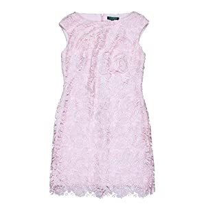 Lauren Ralph Lauren Womens Lace Sleeveless Cocktail Dress Pink 8