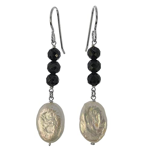 ASHANTI Freshwater Coin Freshwater Cultured Pearl and Black Spinel Natural Gemstone Sterling Silver Handmade Earrings