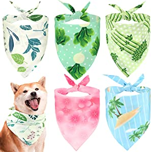 Pawaboo Dog Bandana 5 Pack, Reversible Washable Cooling Summer Style Soft Pet Scarfs Kerchief, Breathable Adjustable Owner Headband Dog Triangle Bibs Costumes Accessories for Dogs Cats Puppy Kitten