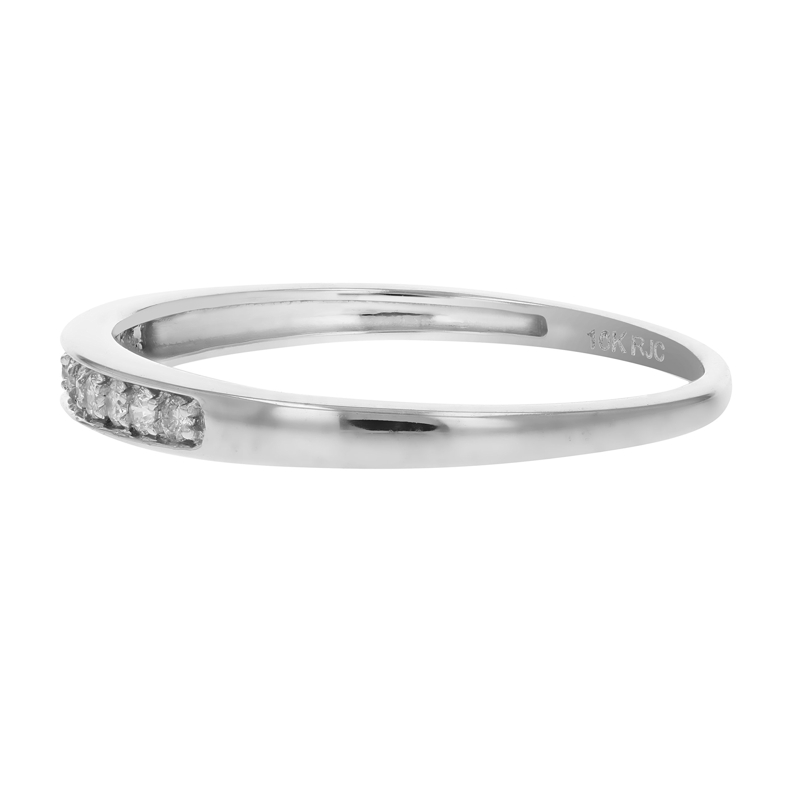 1/10 cttw Diamond Wedding Band 10K White Gold Size 10 by Vir Jewels (Image #2)