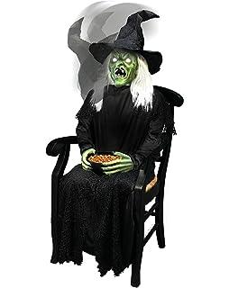 4 5 Ft Sitting Scare Witch Animatronics Decorations