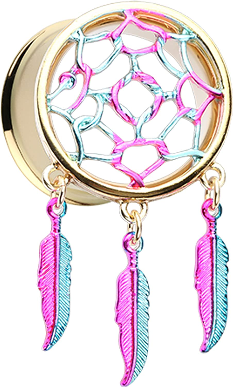Sold as a Pair Rainbow Dreamcatcher Feather Dangle Ear Plug Rainbow
