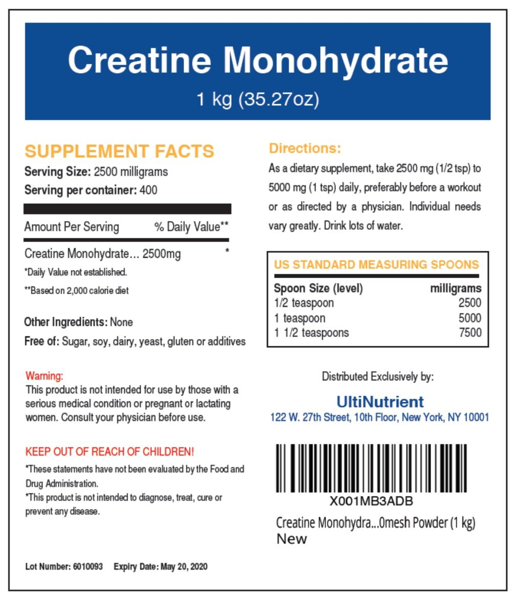 Amazon.com: UltiNutrient Creatine Monohydrate Micronized 200mesh Bulk  Powder, Unflavored (500 gram) Pure High Performance Formula: Health &  Personal Care