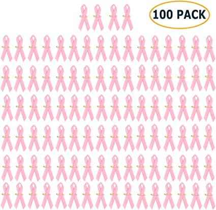 Amazon Com Pack Of 100 Official Breast Cancer Awareness Pink Ribbons Breast Cancer Gifts For Women By Crystal Lemon Arts Crafts Sewing