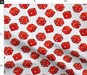 Spoonflower Fabric - Red Dice Casino Cartoon Pop Art Luck Retro White Printed on Petal Signature Cotton Fabric by The Yard - Sewing Quilting Apparel Crafts Decor