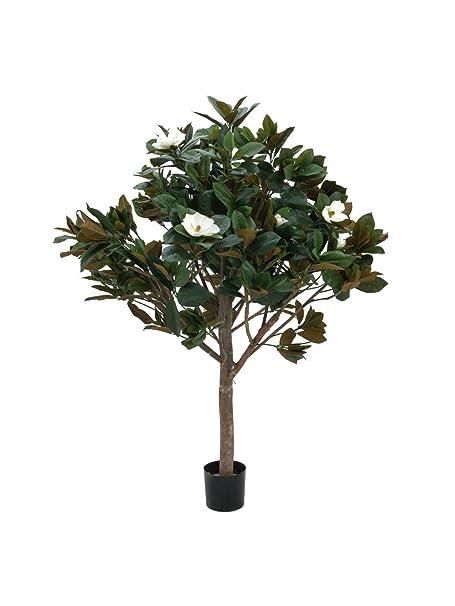 Set 2 X Plastic Magnolia Tree 780 Leaves 12 Blooms Cream Natural
