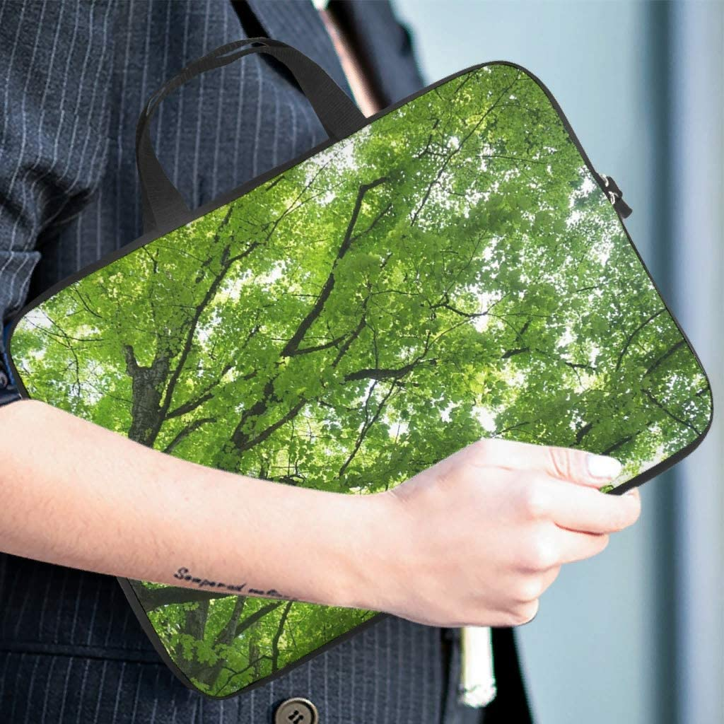 Funny Tablet Sleeve Green Natural Landscape Tree Full Printed Tablet Carrying Case Dust Proof Polyester Laptop Computer Bag for Laptop Computer White 13inch