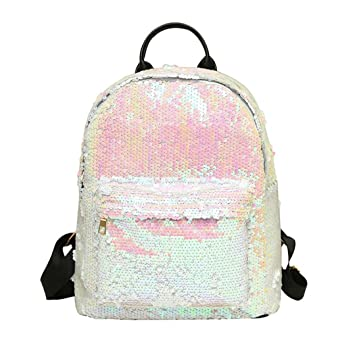 Mochila escolar de lentejuelas para mujeres y niñas, estilo Saihui con purpurina, bolso de mano de piel sintética para estudiantes, viajes, ...