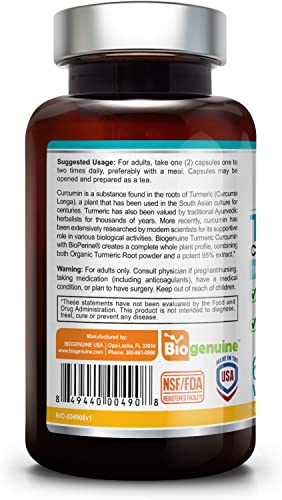 Organic Turmeric Curcumin 1000 mg 60 Vcaps with BioPerine – Powerful Anti-Inflammatory Joint Health Antioxidant Support Immune Boost