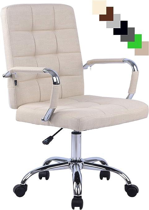 Fauteuil de Bureau Ergonomique à roulettes Deli Pro Chaise de Bureau Confortable Rembourré avec Revêtement en Tissu Réglable en Hauteu,