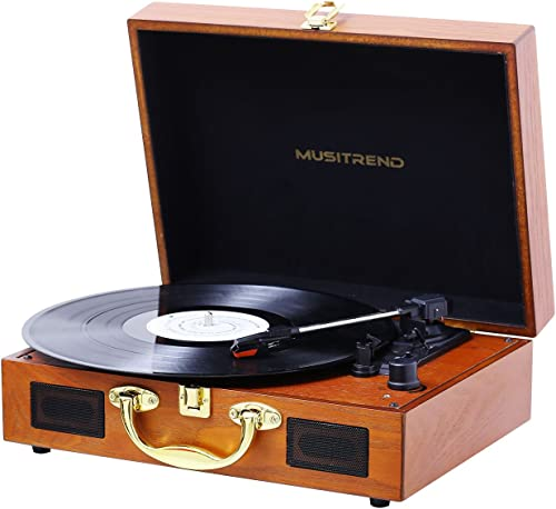 JOPOSTAR Record Player Turntable 3-Speed Belt-Drive Vinyl Record Player with Stereo Speakers Headphone Jack Aux Input RCA Line Out, Vintage Style Turntable Brown