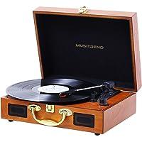 MUSITREND Platine Vinyle, Retro Portable Tourne-Disque, Trois Vitesse 33/45/78 avec Haut-Parleur Intégré, Bois Marron