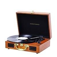 Tocadiscos bluetooth para discos de vinilo con 3 velocidades y altavoces estéreos incorporados, 33/45/78 RPM, salida de línea RCA estéreo, inicio y parada automáticos-Madera