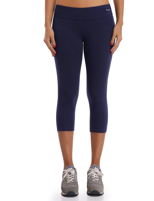 WingsLove Women's Workout Yoga Pants Mid Waist 3/4 Length Capris Leggings