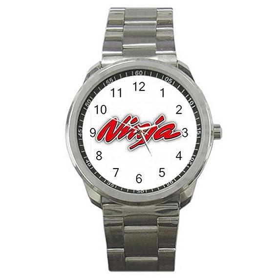 Ninja Kawasaki Logo Auto Slogan Red ES9WLGO612 Relojes de pulsera Mens Wristwatches Stainless Steel