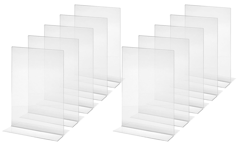 acrylique transparent SIGEL TA224 Lot de 10 Pr/ésentoirs verticals de table 10,5 x 21,2 x 6,5 cm