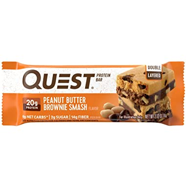 Quest Nutrition Peanut Butter Brownie Smash Protein Bar, High Protein, Low Carb, Gluten Free, Soy Free, Keto Friendly, 12 Count