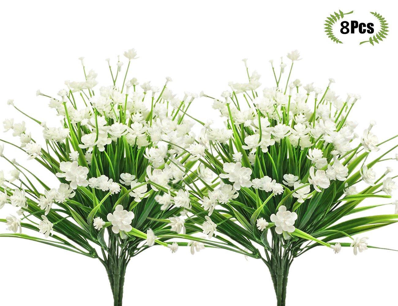 lovenimen人工椿の花、プラスチックDaffodilsフェイク植物ウェディングブライダルブーケパーティーインドアアウトドアDIYホームガーデンベランダコリドーテーブルセンターピースArrangements装飾 B07CWNSRDV  Camellia/White/8pcs