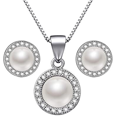 0eebf7637 Lydreewam Pearl Necklace Earrings Jewellery Set 925 Sterling Silver  Valentine Gift Box for Women/Girls: Amazon.co.uk: Jewellery