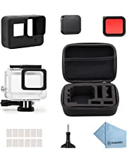 Rhodesy 18 in 1 Kit di Accessori per GoPro Hero 7(Solo nero) Hero (2018) GoPro Hero 6 Hero 5, Custodia Protettiva Impermeabile Pacco Accessori per GoPro Hero 2018 Hero7(Nero)/6/5 Action Camera