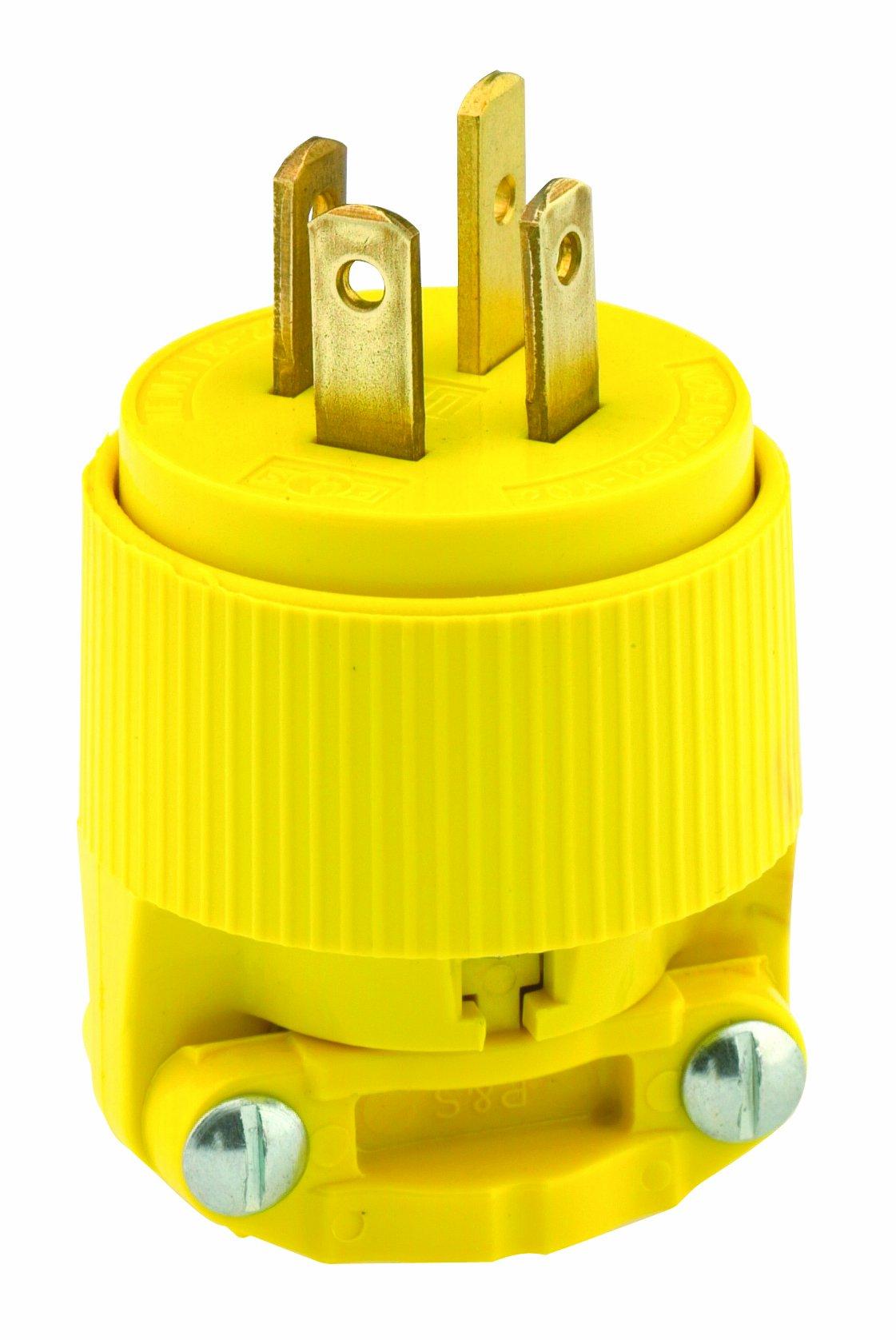 Leviton 7251-C 20-Amp, 120/208 Volt- 3PY, Straight Blade, Plug, Industrial Grade, Non-Grounding, Yellow