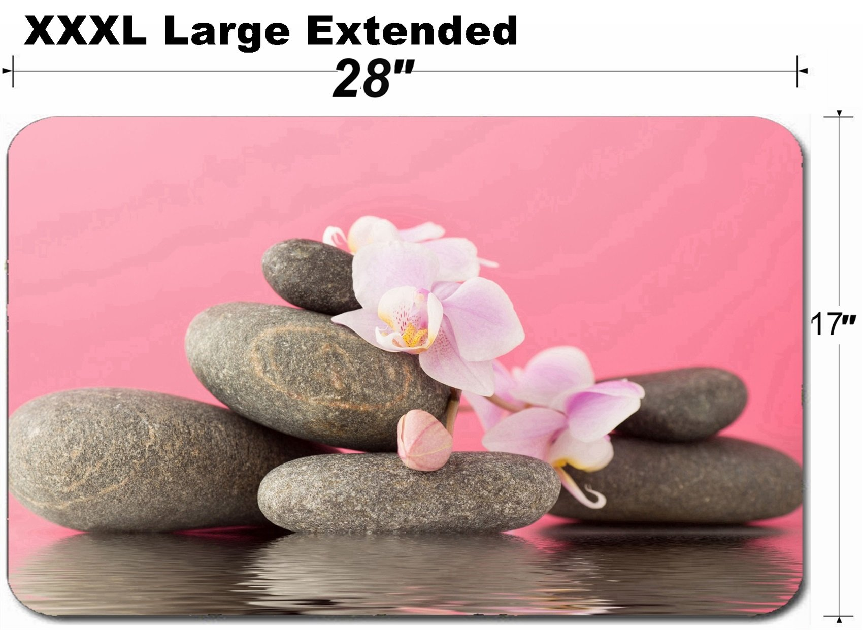 MSD Large Table Mat Non-Slip Natural Rubber Desk Pads Image ID 28544324 Spa Stones on Pink Background with Orchids