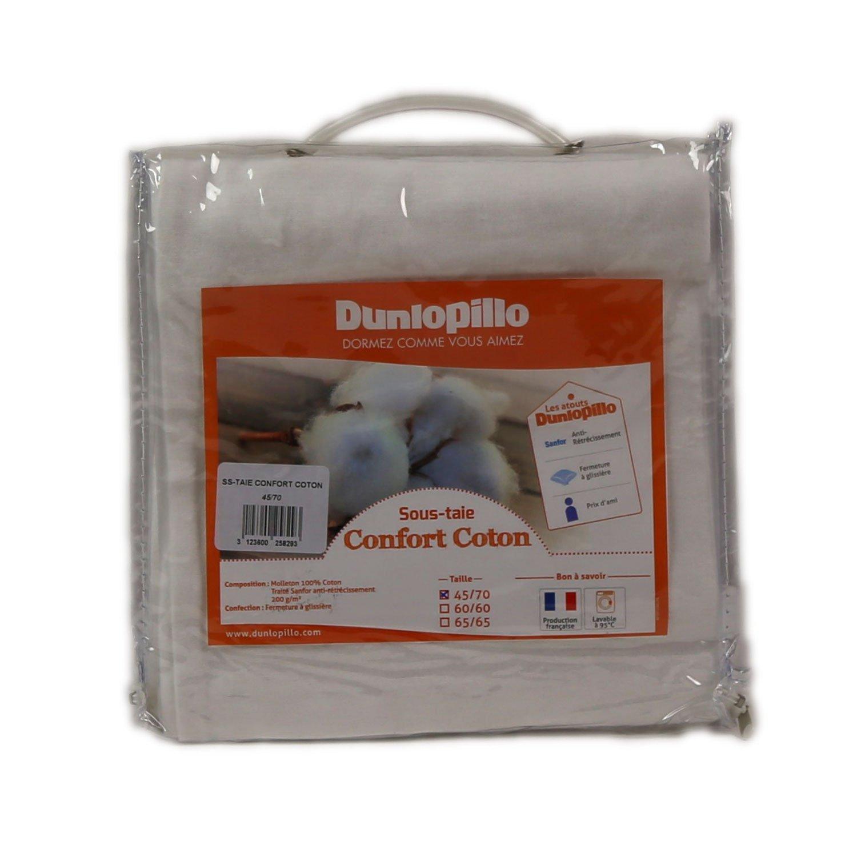 Dunlopillo Confort Coton Sous-Taie Blanc 45 x 70 cm