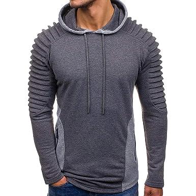 Otoño e Invierno de los Hombres Camisa cálida Sudadera Chaqueta suéter Pliegues con Capucha Abrigo de Manga Larga suéter: Amazon.es: Ropa y accesorios