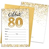 Amazon 8 count birthday invitations 80th bright and bold 80th birthday party invitation cards with envelopes 25 count white and gold filmwisefo