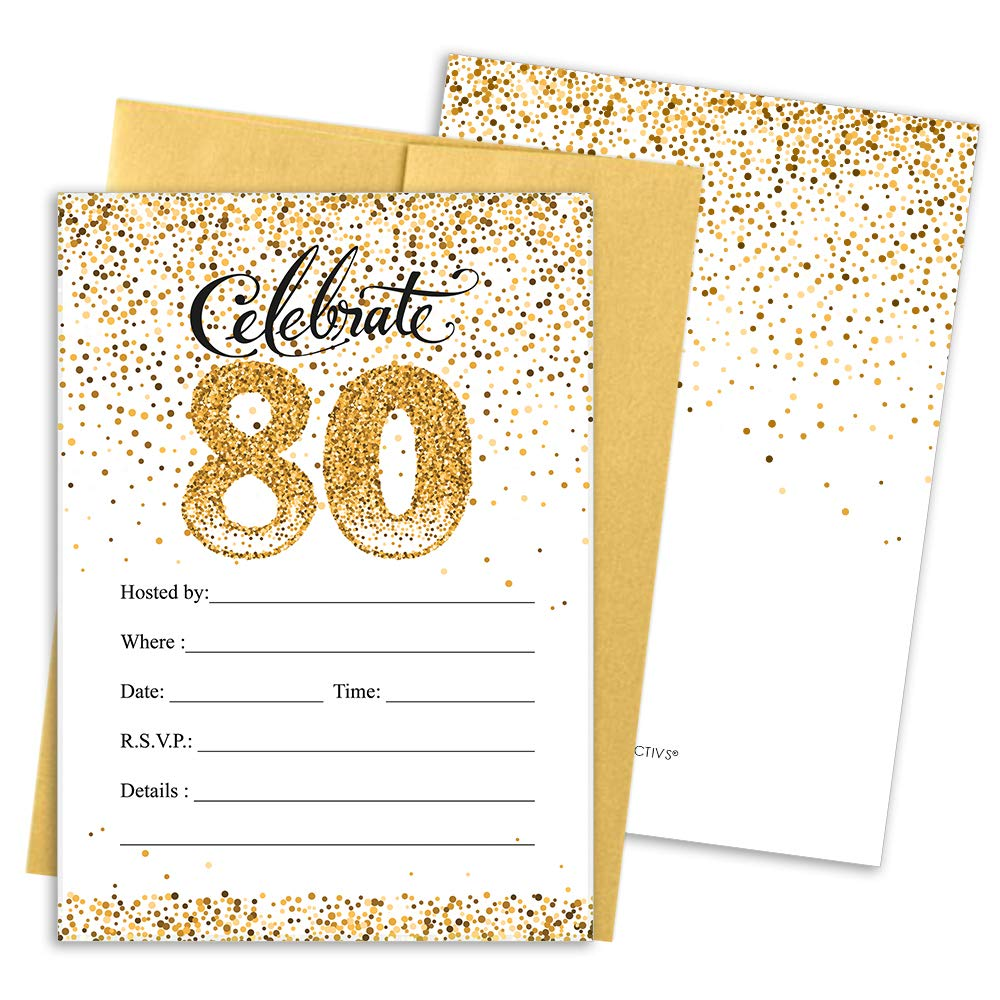 Amazon.com: 80th Birthday Party Invitation Cards with Envelopes, 25 ...