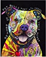 """Pitbull Heart Colorful Animals Wall Decoration Art Image Printed on 11""""x14"""" Metal Ready to Hang"""