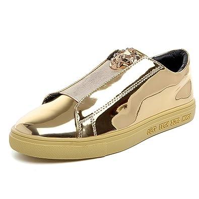 Men's Flat Glossy Sequin Slip On Loafer Shoes (7.5 US Golden)