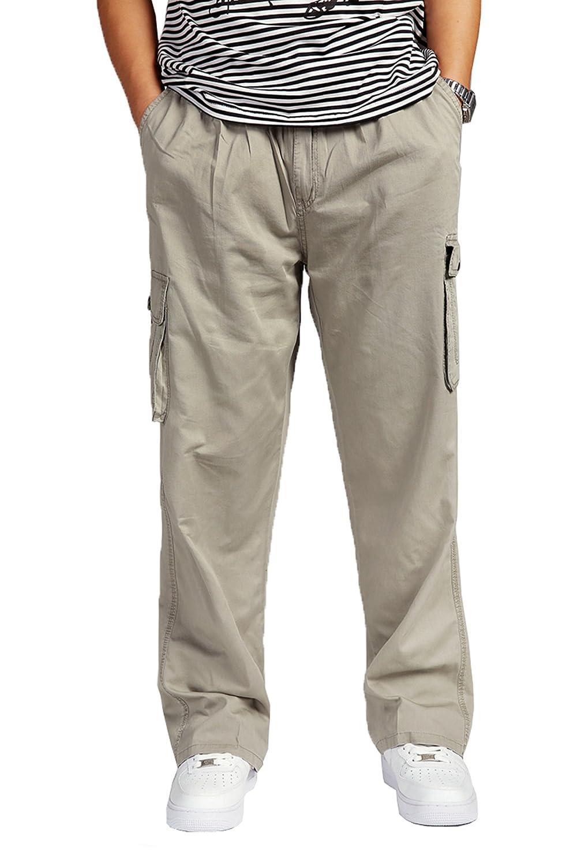 Pantaloni Uomo Cargo Cotone Elastico Alto in vita Loose-Fit per il tempo libero