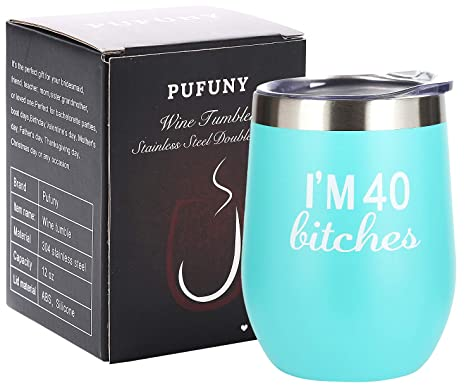Amazon.com: Pufuny Im 40 Vaso de vino, divertido, regalo de ...