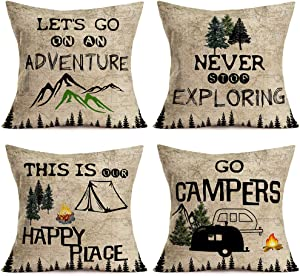 Fukeen Set of 4 Go Campers Throw Pillow Covers Adventure Never Stop Exploring Mountain Pine Trees Camping RV Trailer Campfire Vintage Decorative Pillow Cases 18x18 Inch Farmhouse Outdoor Cushion Cover