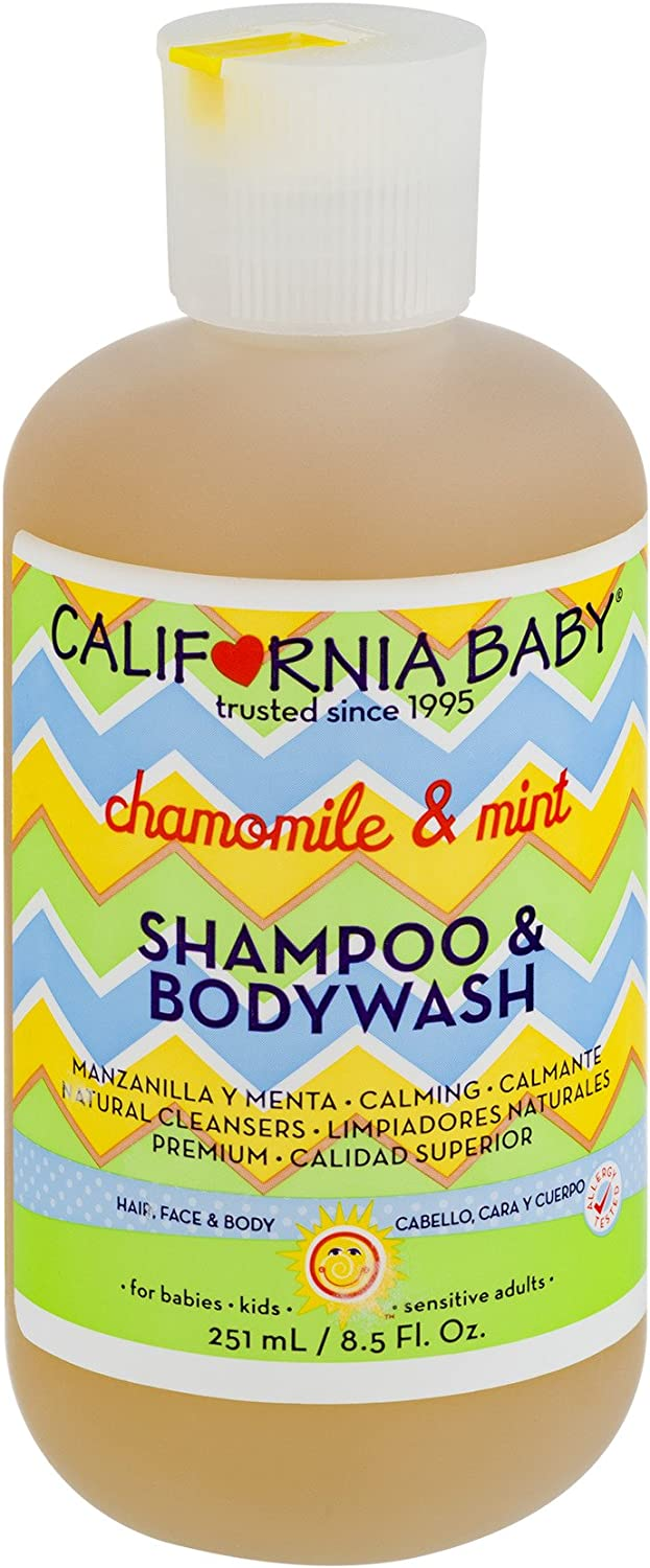 California Baby Chamomile and Mint Shampoo and Body Wash - Hair, Face, and Body   Gentle, Allergy Tested   Dry, Sensitive Skin, (8.5oz)