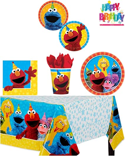 One Stop Elmo Sesame Street Birthday Party Supplies Pack Bundle Kit Including Dinner Plates Dessert Plates Cups Napkins And Tablecover 8 Guests