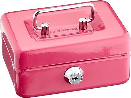 Cathedral - Caja de caudales (metálica, con cerradura, 2 llaves, 10 cm), color rosa: Amazon.es: Oficina y papelería