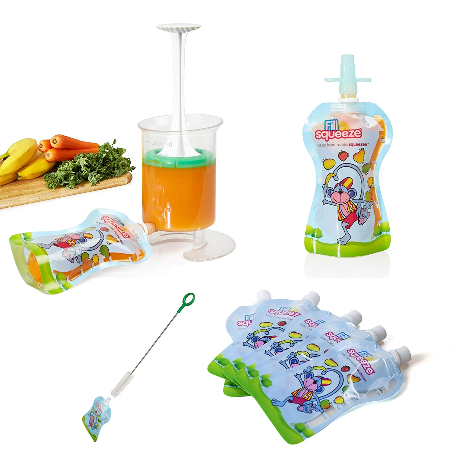 The Original Patented Fill n Squeeze Baby Weaning Pouch Filling Station for Homemade Baby Food, Apple Sauce, Smoothies,Reusable Pouches, Cleaning Brush & Filling Food Station (Special Price)
