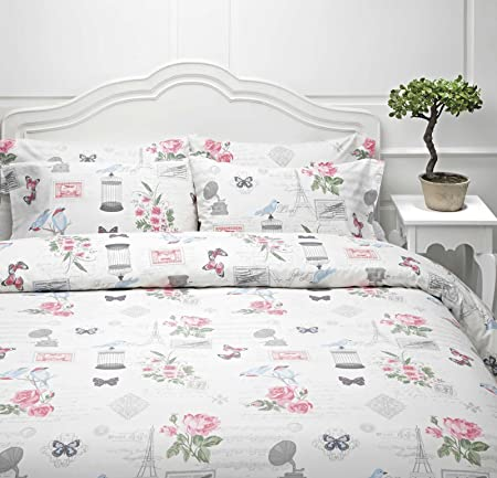 happy and full textile for cotton no dp filling set adult queen or pieces comforter home cover size birds amazon bedding bird flora duvet com